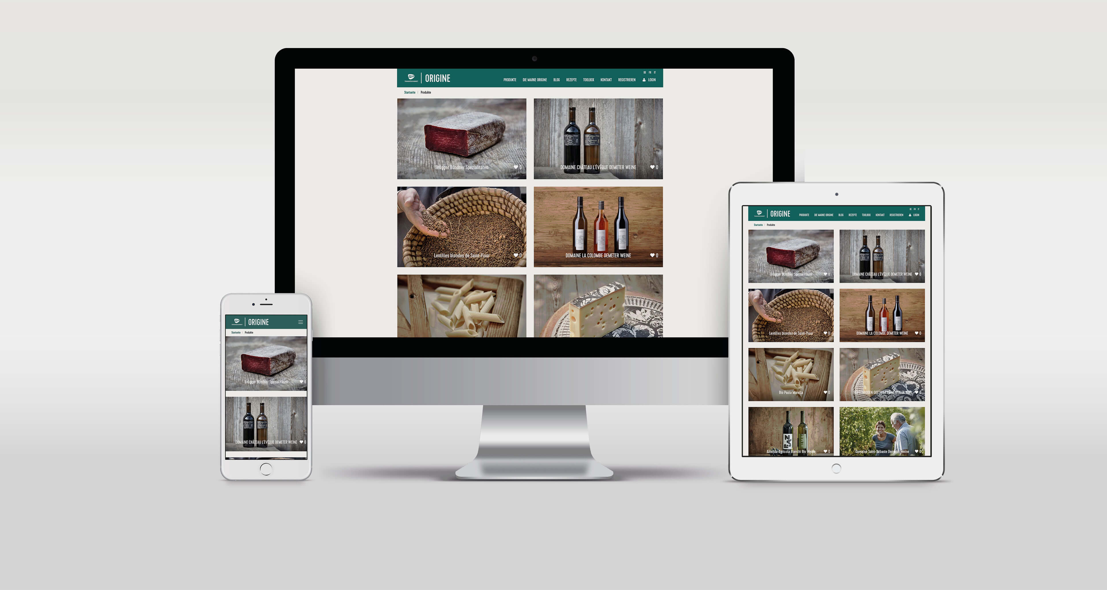 Transgourmet Origine Website Schweiz Screens