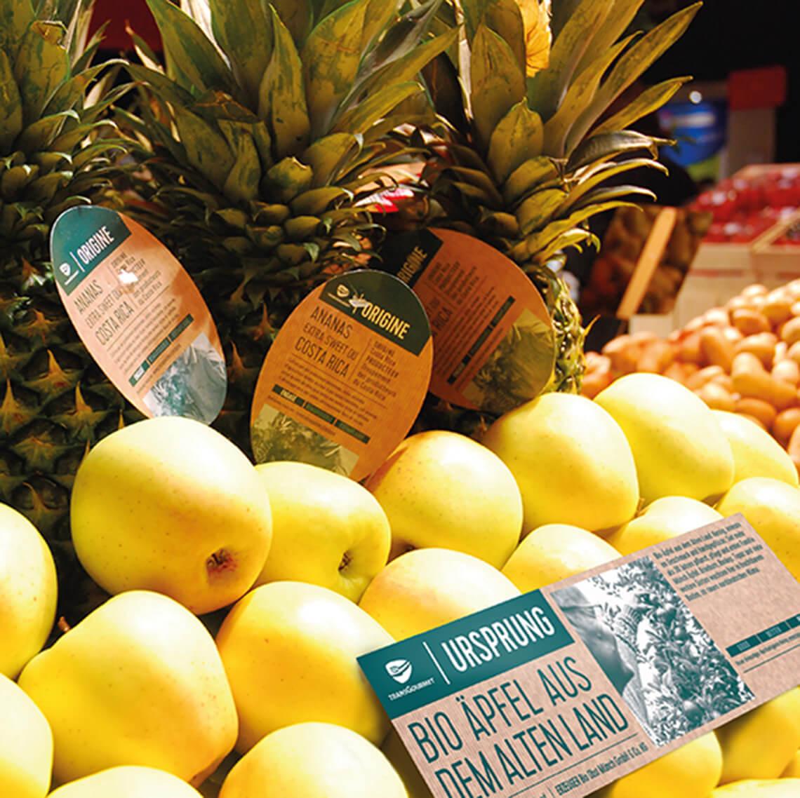 Transgourmet Origine Etiketten Aepfel Ananas