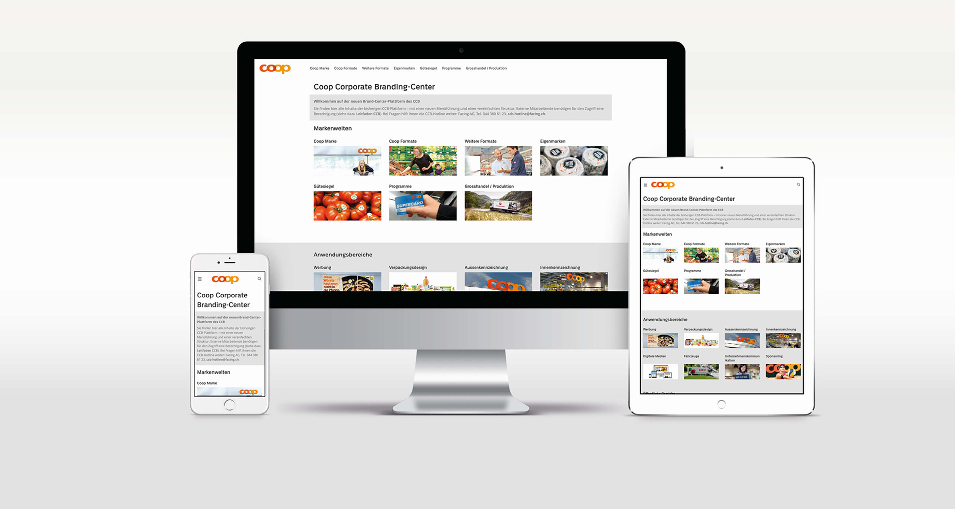 Einstiegsseite Coop Corporate Branding Plattform